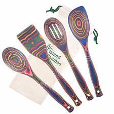 Island Bamboo 4-Piece Pakka Wooden Utensil Set Kitchen Spoons Cooking Rainbow