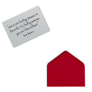 Personalised Love Finding Someone Keepsake Metal Wallet Card Valentines Gift