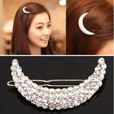Hot Fashion Bridal Womens Girl Moon Crystal Rhinestone Clip Hair Pin Accessories