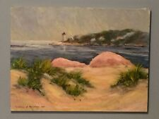 Seascape with Lighthouse Painting Indiana Artist Frances Rogers Brown County