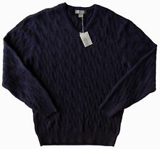 Men's DANIEL CREMIEUX Blue ALPACA Cable Knit Sweater XLarge XL NWT NEW $150+ WOW