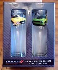 1974 & 2015 DODGE CHALLENGER SET OF 2 PILSNER GLASSES-NEVER USED