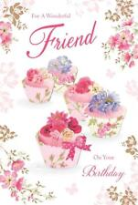 For A Wonderful Friend Cupcake Roses & Flowers Design Happy Birthday Card