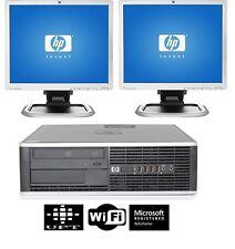 """HP Desktop PC Computer Core 2 Duo 4GB RAM DUAL 2X19"""" LCD Monitor WIFI Windows 10"""
