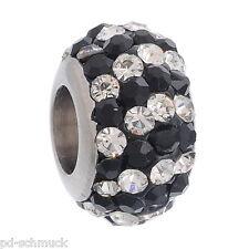 PD: 1 Edelstahl Perlen Beads Schwarz+Weiß Strass Kristall Schmuck 11.6mmx7.94mm