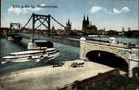 Schiffsfoto-AK Postkarte 1928 Rhein Schiff Dampfer bei Köln Hängebrücke Brücke