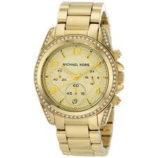 New Michael Kors Blair Gold Stainless Steel MK5166 Women Glitz Chronograph Watch