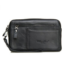 Men real Leather Clutch Bag Wallet Business Cell Phone Purse Small Wrist Handbag