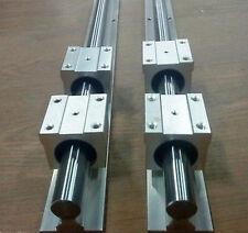 20MM SBR20-2500mm LINEAR SLIDE GUIDE SHAFT 2 RAIL+4SBR20UU BEARING BLOCK CNC E