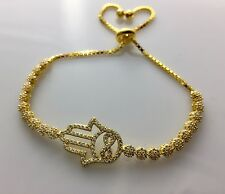 MAYA BY ALEF 925 Gold over Sterling Silver Hamsa Infinity Tennis Bracelet