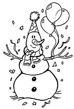 Unmounted Rubber Stamp Sets, Birthday Stamps, Birthday Snowman, Winter, Balloons