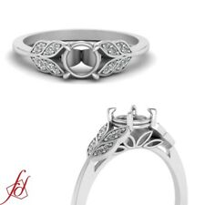 Antique Engagement Ring Mounting for Round Diamond White Gold