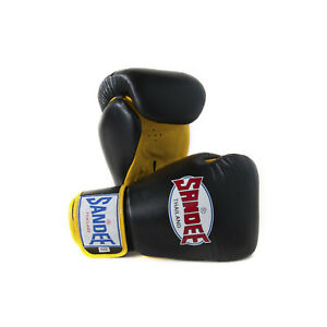 Sandee Boxing Gloves Authentic Leather Black Yellow Muay Thai Kickboxing MMA