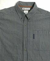 Columbia Men's Long Sleeve Button Down Checkered Gray Shirt Mens Size Large EUC.
