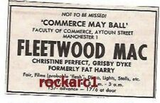FLEETWOOD MAC Christine McVie UK TIMELINE Advert - Manchester1-May-70 2x3 inches