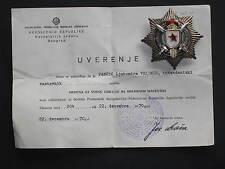 Original Jugoslawien Militär-Verdienstorden im Etui und Urkunde an eine Spiess