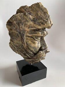 Brutalist 1970s Stone Face Sculpture Statue Tevye Greek God? Bearded Man