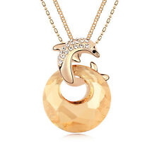 18K Gold GP Made With Swarovski Crystal Brown Dolphin Moon Double Chain Necklace