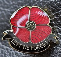 BEAUTIFUL LARGE GLOSSY RED POPPY PIN BADGE REMEMBRANCE DAY 2018 SOLDIER VETERAN