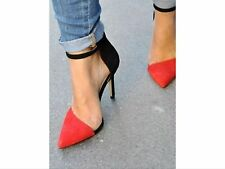 Zara Black Red Asymmetric Ankle Strap Vamp Heels Shoes SIZE UK 3, EU 36