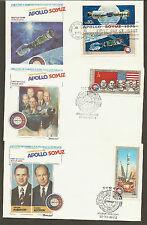 Us#1570a / Russia #4338/4341 - Apollo/Soyuz - Set of 3 Fleetwood Fdcs