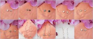 Neu Ohrringe Perlen Strass Raute Quadrat Hänger Loops gold silber Dreieck H26