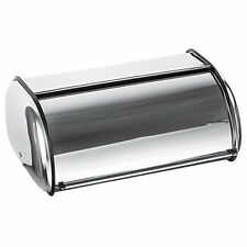 Bread Box Vintage Kitchen Storage Stainless Steel Bin Wood Roll Metal Large