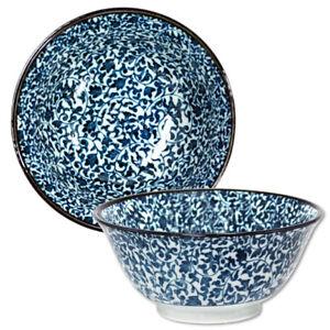"""Japanese Rice Soup Noodle Bowl 6"""" Porcelain Blue Kosome Karakusa Made in Japan"""