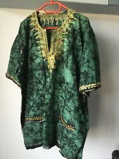 Unisex African cotton top tunic kaftan green black and gold