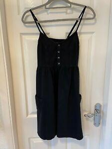 WOMENS (TOPSHOP) SOFT BLACK DENIM STRAPPY SUMMER DRESS. BNWT. SIZE 8. RRP £28.00