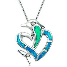 "Opalesque DOLPHIN HEART 7/8"" x 3/4"" Charm Pendant Necklace 18"" Chain #62"