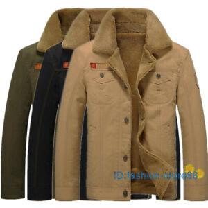 New Men Fleece Lined Winter Warm Fur Collar Coat Trucker Denim/Jean Jacket LC