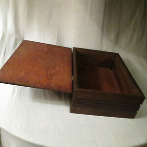 Vintage Hand-made Wooden Box With Hinged Lid