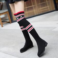 Fashion Knit  Over The Knee Boots Womens Round Toe Low Heels Thigh Boots Plus Sz