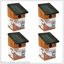 4 x Wooden Nesting Box Traditional Bird Nest House Small Birds Bluetit Robin