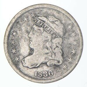 5c ***1/2 Dime HALF** 1836 Capped Bust Half Dime Early American Type Coin *485