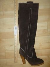 Colin Stuart size 6B NWOB over knee high brown contrast stitch leather boots
