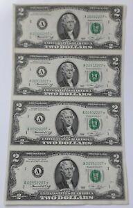 Usa 4xuncut Uncirculated $2 Dollar Bills 1976
