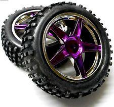 06010 1/10 Escala Off Road RC buggy delanteras Ruedas y neumáticos x 2 púrpura plástico