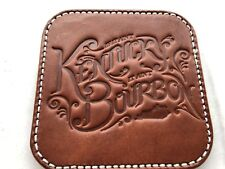 Amish Hand Made Kentucky Bourbon Brown Leather Square Coaster, genuine leather