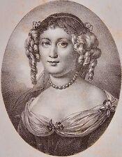 MARIE DE RABUTIN CHANTAL MARQUISE DE SEVIGNE . Portrait, lithographie 1821,