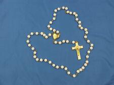 """1st Communion Gift, White Glass Bead Rosary w/Locket center , 21"""" Length-"""