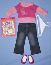 American Girl SCHOOL DAYS OUTFIT Pink Shirt Blue Jeans Pink Shoes