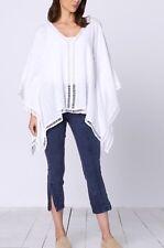 NEW XCVI Plus Size Cotton Gauze White Lagenlook Poncho Tunic Blouse Top 2X