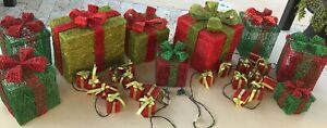 12 pc Christmas Gift Box Indoor/Outdoor Holiday Lighting Decor Large & Small