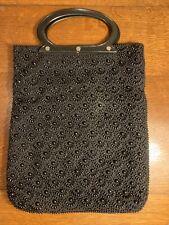 Vintage Black Beaded Purse With Plastic Handles