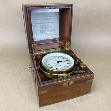 Ulysse Nardin Vintage Marine Chronometer Ship Clock W/ Wooden Box - Rare