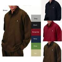 Men's 2pc Walking Suit Long Sleeve Casual Shirt & Pants Set Solid Color