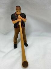 Vintage Hand Carved Wood Folk Art Man Blowing Alphorn Alpine Horn Swiss Figure