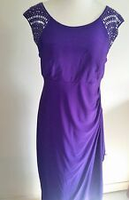 R&M Richards sz 10P Purple Embellished Evening Dress Formal Gown Dress #A128